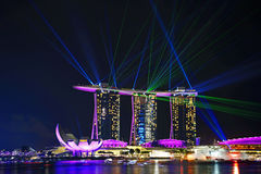 Laser-show, Marina Bay Royaltyfri Foto