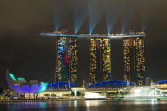 Laser show in Marina Bay Sands Royalty Free Stock Photography