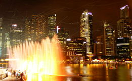 Laser and fountain show at marina bay sands. In night Royalty Free Stock Images