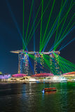 Laser show at the Marina Bay Sands in Singapore. Royalty Free Stock Photography