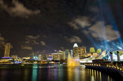 Laser show at Marina Bay Sands Stock Image