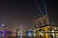 Laser show at Marina Bay Sands Stock Photos