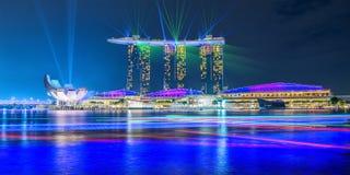 Laser show at the Marina Bay Sands Stock Photos
