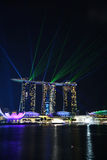 Laser show, Marina Bay Stock Images