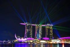 Laser show, Marina Bay Royalty Free Stock Photo