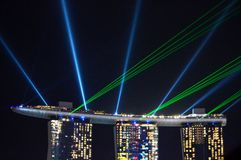 Laser show at Marina Bay Singapore Royalty Free Stock Photo