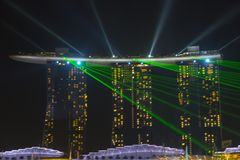 Laser show at Marina Bay in Singapore Royalty Free Stock Photo