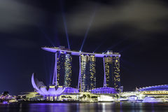 Laser show at MBS Hotel Singapore Stock Photo