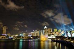 Laser-show på Marina Bay Sands Fotografering för Bildbyråer