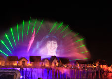 Laser show in Sentosa, Singapore Stock Photo