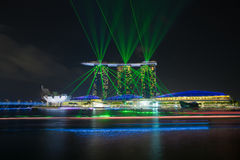 Laser show of Singapore Marina Bay, Singapore Royalty Free Stock Photos