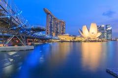Laser-Show von Singapur Marina Bay Sand und Garten durch die Bucht singapur Lizenzfreies Stockfoto