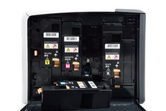 Laser-skrivare och kassetter Arkivfoto