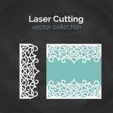 Laser-snittkort Mall för att klippa Utklippillustration vektor illustrationer