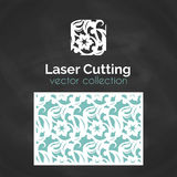 Laser-snittkort Mall för laser-klipp Utklippillustration med abstrakt garnering Stansat gifta sig inbjudan stock illustrationer