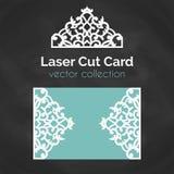 Laser-snittkort Mall för laser-klipp Utklippillustration med abstrakt garnering Stansat gifta sig inbjudan royaltyfri illustrationer