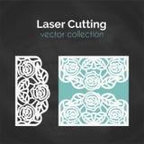 Laser-snittmall Kort för att klippa Utklippillustration stock illustrationer