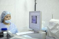 Laser surgery for vision correction royalty free stock photography
