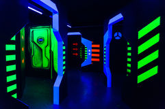 Laser tag arena. With fluorescent paint Stock Photo
