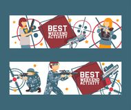 Laser tag game set of banners vector illustration. Gun, optical sight, trigger, vest, attachment rail. Game weapons royalty free illustration
