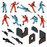 Laser Tag Isometric Set. Laser tag game ammunition gear infrared sensitive targets vests guns players isometric icons set isolated vector illustration royalty free illustration