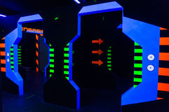 Laser tag. Maze arena with fluorescent paint Stock Photo