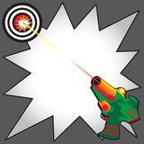 Laser Tag Party Invitation. With colorful laser gun blasting a laser beam at a bullseye target.  Comic Book inspired starburst to write your info Royalty Free Stock Image