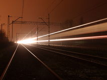 Laser on the tracks. Stock Image