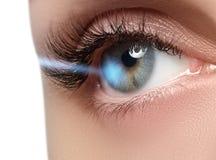 Laser-visionkorrigering Öga för kvinna` s för eos-öga för kamera 20d skytte för makro mänskligt härligt kvinnabarn för blått öga Arkivbilder