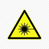 Warning sign Vector illustration. Laser Warning sign. Hazard symbols Stock Images