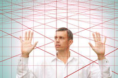 Laser web-decoy. Crisis blockaded zone in finance business for businessman stand laser web-decoy stock image