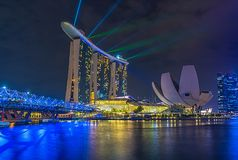 Laser Whow en Marina Bay Sands Hotel el 26 de marzo de 2016 imagen de archivo
