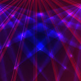 Laserachtergrond met blauwe en violette stralen Stock Foto's