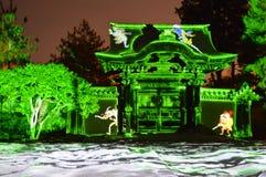 Laserlichte am Tempel Stockbild