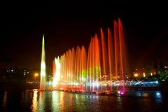 Laserowa muzyczna fontanny noc Zdjęcie Stock