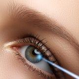 Laserowa wzrok korekcja oko jest kobieta 20 d kamery oko eos strzał makro ludzkiej Kobiety oko z Zdjęcia Stock