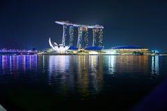 Laserowy przedstawienie Singapur Marina zatoki ogród zatoką i piasek Obrazy Stock