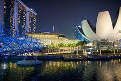 Laserowy przedstawienie Singapur Marina zatoki ogród zatoką i piasek Zdjęcia Royalty Free