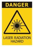 Laserstrahlungs-Gefahrensicherheitsgefahrenlokalisierte warnender Textzeichengelb-Aufkleberaufkleber, Strahln-Ikone Signage der h Lizenzfreies Stockbild