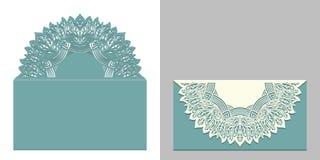 Laseru cięcia papieru koronki koperta z mandala elementem Tnący szablon dla ślubnego zaproszenia lub karcianych projektów Obraz Royalty Free