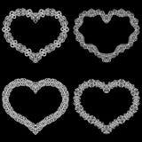 Laseru cięcia rama w formie serca z koronki granicą ilustracji