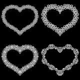 Laseru cięcia rama w formie serca z koronki granicą royalty ilustracja