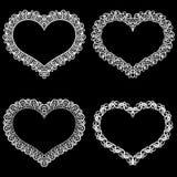 Laseru cięcia rama w formie serca z koronki granicą Set podstawy dla papierowego doily dla ślubu royalty ilustracja
