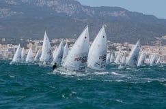 Laseru klasowy żeglowanie podczas regatta w palmie de Mallorca szeroki zdjęcia royalty free