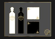 Laseru rżnięty Luksusowy projekt z złotem akcentującym Złoty set ozdobne karty Luksusowy szablon dla kartka z pozdrowieniami, ślu Obrazy Royalty Free