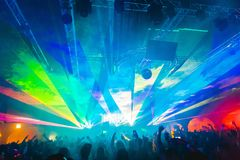 Lasery przy impreza rave, przyjęcie, klub Fotografia Royalty Free