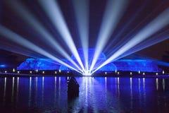 Lasery przy nocą Obrazy Stock