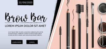Free Lash And Brow Bar. Makeup. Accessories. Tools For Care Of The Brows. Eyebrows Pencil. Angle Brush, Tweezers And Comb Royalty Free Stock Photography - 144668737