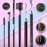 Lash and Brow Bar. Accessories. Make up. Tools for care of the brows. Eyebrows pencil. Angle brush, tweezers and comb. Banner for professional makeup artist stock illustration