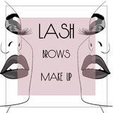 Lash brow makeup square banner. Illustration Royalty Free Stock Photography